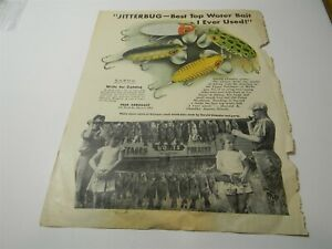 Vintage 1940s Jitterbug Fishing Lures Fred Arbogast Man Cave Print Ad - 8D1