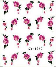 Pink Flowers Nail Art Sticker Decal Decoration Manicure Water Transfer