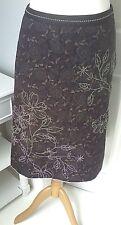 WHITE STUFF skirt UK 10 purple floral embroidary detail green longer back
