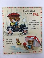 1950's Hallmark Valentine Card Anthropomorphic Bears Car Beach Bicycle Picnic