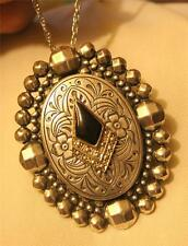 Handsome Vintage Oval Texture Bead Rim Faux Marcasite Pendant Necklace Brooch