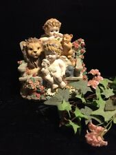 Music Box, Cherubs Lion, Cub And Lamb On Bench Plays Love Is Here To Stay
