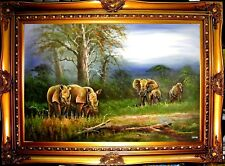 "Elephant Rhino Wildlife Hand Painted 36"" Oil Painting Home Decor Art Gift F57"