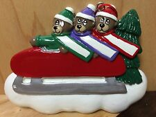 3 CUTE BEARS ON SLED PERSONALIZE YOURSELF RESIN CHRISTMAS HOLIDAY TREE ORNAMENT
