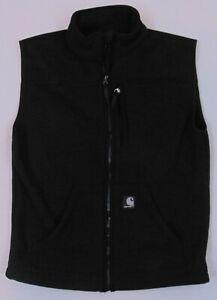 Carhartt Men's Ribbed Knit Fleece Vest Black Carhartt Label Size Small