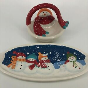 Lot of 2 - St Nicholas Square Snow Days Winter Holiday Candy Dish Cookie Tray