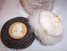 VICTORIAN GLASS POWDER JAR CAMEO OSTRICH FEATHER POWDER PUFF Free Nespresso