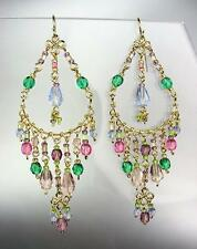 GORGEOUS Multicolor Crystals Peruvian Beads Gold Chandelier Dangle Earrings B9