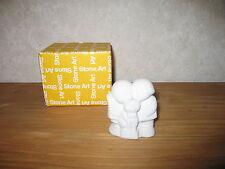 MARBELL STONE ART *NEW* Statue pierre blanche Fille-garçon chat HxL:8x7cm