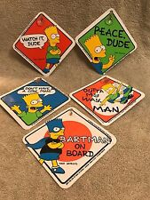 The Simpsons 1990 lot of 5 Window Cling Sign Suction cup Bartman