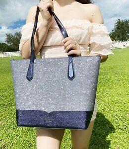 Kate Spade Lola Joeley Glitter Penny Large Top Zip Tote Handbag Dusknavy Blue