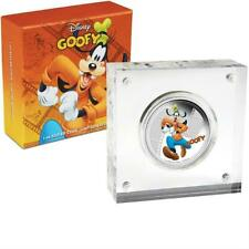 2014 NIUE Disney Goofy 1 OZ Silver $2 Colorized Proof Coin - with Boxes/COA