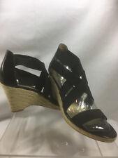 Elie Tahari Kendall Black Wedge Strappy Sandals Platform Espadrilles Size 10M