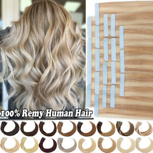 Balayage Tape In Russian Remy Human Hair Extensions THICK Skin Weft Full Head US