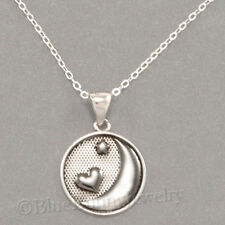 I LOVE YOU TO THE MOON and BACK Heart star Pendant STERLING SILVER 925 Necklace
