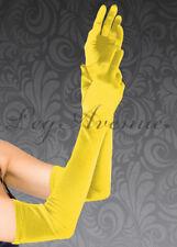 Womens Princess Belle Long Yellow Satin Gloves