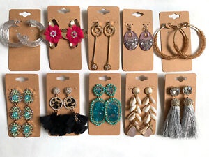 Wholesale Lot of 10 Pairs of Statement Earrings Rhinestone  New #252