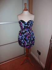 £ 75 OZ worn LIPSY rose bleu noir Tulip Bandeau Boob Tube robe de bal 12 8 40