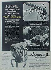 PUBLICITE BEAULIEU CAMERA 8 MM REFLEX CONTROL ELEPHANT DE 1965 FRENCH AD PUB