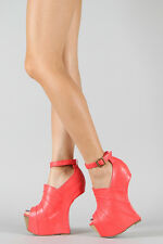 Privileged Coral Ankle Strap Open Peep Toe Wrapped Curved Heel Less High Wedge 8