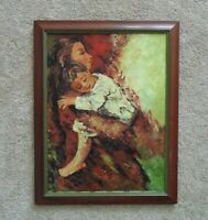Impressionist Portrait Painting Mother & Child Baby Oil on Canvas