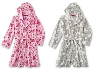 NEW Womens Robe Size Medium Heart Print Plush Fleece Hood Bathrobe Pink 8-10-12