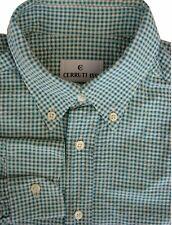 Cerruti 1881 Camicia Da Uomo 15.5 M GREEN & CREAM CHECK-Ruvido