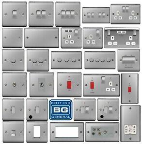 BG Brushed Steel Light Switches & Sockets Full Range Satin Chrome White  Inserts