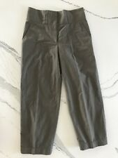 GUNEX Bruno Cucinelli Italy High Rise Flat Front Button Ankle Cropped Pants Sz 2