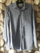 calvin klein shirt long sleeved blue striped ,slim fit - non iron -size 15 1/2