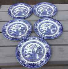 5 Vintage EIT Blue And White Willow Pattern Dinner Plates