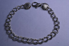 STERLING SILVER NAUTICAL CHARM BRACELET W/ SHELL & DOLPHIN CLASP 7.25 INCHES