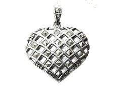 Sterling Silver Heart Necklace Marcasites .925 Chain Pendant