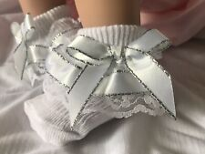 White Frilled Lace Baby Socks with White And Silver Ribbon Trim size Newborn