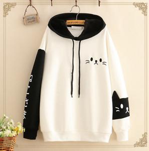 Girls Kawaii Clothing Cute Ropa Hoodie Harajuku Sudadera Cat Face Sweatshirt