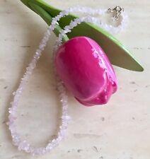 Splendido Quarzo Rosa Pietra Preziosa Perline & 925 Argento Sterling Collana