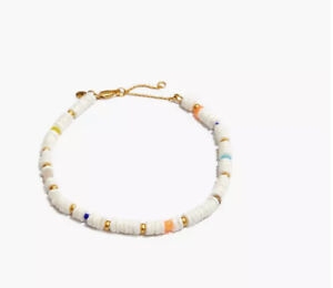Madewell Puka Shell Anklet Neon Coral Multi New with Tag