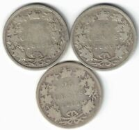 3 X CANADA 25 CENTS QUARTERS QUEEN VICTORIA STERLING SILVER COINS 1899 1900 1901