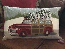 Pottery Barn Woody Car Crewel Lumbar Pillow Cover 16x26 Embroidered Christmas