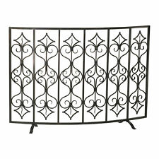 Decorative Curved Iron Fireplace Screen Tuscan Bronze