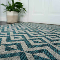 Flatweave Outdoor Rugs for Garden Patio Area Mats Washable Teal Blue Grey Mats