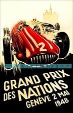 Monaco Grand Prix 1948 Geneva Car Racing Vintage Poster Print Retro Style Art
