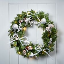 Green & Silver Christmas Wreath Decorated With Pre-Lit LED Xmas Decoration