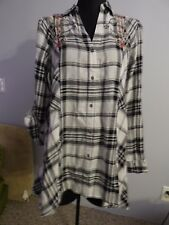 Vintage America Black & White Plaid with Emroidery Blouse Womens Small