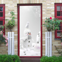 3D Snowman with stars and snowflakes Self Adhesive Door Murals Stickers Decor