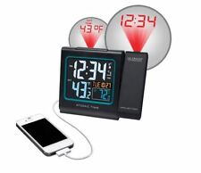 Solar Powered Outdoor Temperature Atomic Alarm Clock w LCD Time Wall Projection