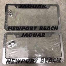 2 NEW Jaguar Newport Beach Stainless Steel Chrome Metal License Plate Frame