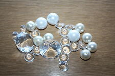 PACK OF MIXED ACRYLIC DIAMONDS, IVORY & WHITE PEARLS WEDDING TABLE CONFETTI