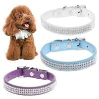 Rhinestone Soft PU Leather Pet Collar Bling Cat Dog Leash for Small Medium Dogs