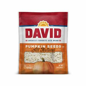 DAVID Roasted and Salted Pumpkin Seeds, Keto Friendly, 5 oz (3-Pack) (3-Bags)